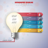 3d light bulb timeline infographics with icons set.. Vector. illustration Stock Photos