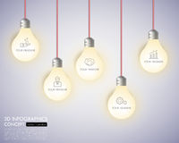 3d light bulb timeline infographics with icons set. vector. Illustration Royalty Free Stock Images