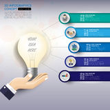 3d light bulb timeline infographics with icons set. vector.. Illustration Stock Images