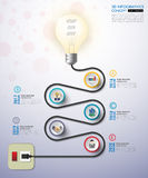 3d light bulb timeline infographics with icons set. vector.  Royalty Free Stock Photo