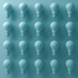 3d light bulbs on cyan background with abstract shade and shadows . 3D render. Ing Stock Images