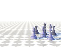 3d light chess background with chess pawns Stock Photography