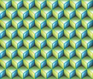 3d Light Green & Blue contour abstract geometrical cubes seamless pattern background Royalty Free Stock Photography