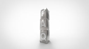 3D light yellow FAQ cubes Stock Images
