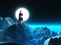 3D lighthouse on rocky cliffs against a night sky. 3D render of a lighthouse on rocky cliffs against a night sky Royalty Free Illustration