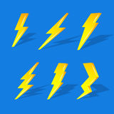 3D lightning on blue background Royalty Free Stock Photos
