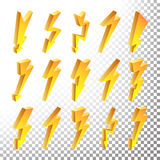 3D Lightning Icons Vector Set. Cartoon Yellow Lightning  Illustration. Flash Pictograms. Lightning Bolt Icons. Lightning Sign Vector Set. Cartoon Golden 3D Stock Photography