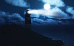 3D lightouse with stormy sea Royalty Free Stock Photos