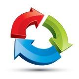 3d lijn 3 pijlen vat pictogram samen stock illustratie