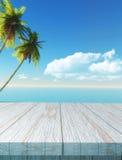 3D lijst die uit aan een palm en overzees landschap kijken Royalty-vrije Stock Afbeeldingen
