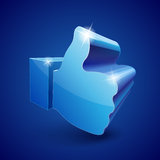 3d Like symbol. Shining 3d Like symbol on blue background  illustration Royalty Free Stock Image