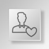 3D like user Button Icon Concept. 3D Symbol Gray Square like user Button Icon Concept Royalty Free Stock Photography