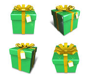 3D lime green square gift box set. 3D Icon Design Series. Royalty Free Stock Photos