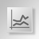 3D  line chart Button Icon Concept Royalty Free Stock Image