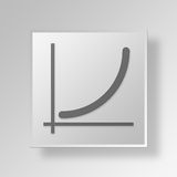 3D  line chart Button Icon Concept Stock Image