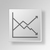 3D Line Graph icon Business Concept Stock Photography