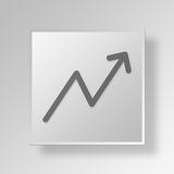 3D Line Graph icon Business Concept Royalty Free Stock Image