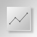 3D Line Graph icon Business Concept Royalty Free Stock Photo