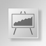 3D Line Graph icon Business Concept Royalty Free Stock Images