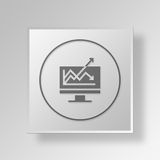 3D Line Graph icon Business Concept Royalty Free Stock Photos