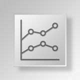 3D Line Graph icon Business Concept. 3D Symbol Gray Square Line Graph icon Business Concept Royalty Free Stock Photography