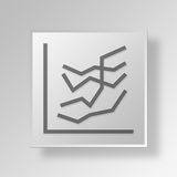 3D line graphs Button Icon Concept Royalty Free Stock Photography
