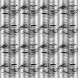 3d linee ondulate in bianco e nero modello senza cuciture Dott. d'argento di vettore Immagini Stock Libere da Diritti