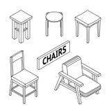 3D Linie gezeichnete isometrische Stühle Weißer Hintergrund Stockbilder