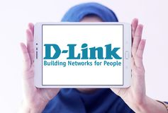D-Link Corporation logo. Logo of D-Link Corporation on samsung tablet holded by arab muslim woman. D-Link Corporation is a Taiwanese multinational networking Stock Image