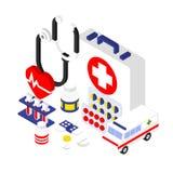 3d liso Infographic isométrico para médico ilustração royalty free