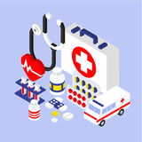 3d liso Infographic isométrico para médico Imagem de Stock Royalty Free