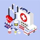 3d liso Infographic isométrico para médico Imagens de Stock Royalty Free