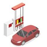 3D liso isométrico fora do posto de gasolina, posto de gasolina Imagens de Stock Royalty Free