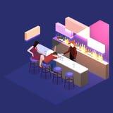 3D liso isométrico isolou barra cortante do conceito no clube noturno ilustração do vetor