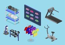 3D liso isométrico isolou bens do vetor para a loja dos esportes Imagens de Stock Royalty Free