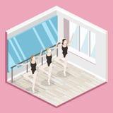 3D liso isométrico isolou dança-salão vazio interior cortante do treinamento do vetor Foto de Stock Royalty Free