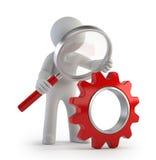 3d litet folk - Lupe rött kugghjul Fotografering för Bildbyråer