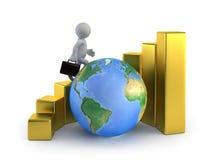 3d litet folk - tillväxt för global affär Arkivbilder