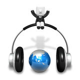 3d little artist man standing with big headphone and globe. 3D S Stock Image