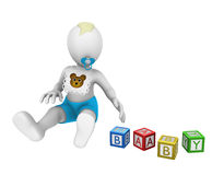 3d little boy. With colored cubes. 3d illustration Stock Photo