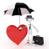 The 3D little businessman  with heart. Romantic condition of the character before appointment Stock Images