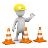 3d Little construction man with traffic cones Stock Photo
