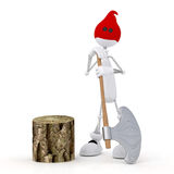 The 3D little man with an axe. Stock Photos