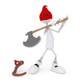 The 3D little man with an axe. Royalty Free Stock Photography