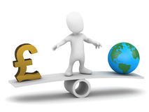 3d Little man balances money and the world Royalty Free Stock Photo