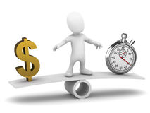 3d Little man balances time and money. 3d render of a little person on a see saw with US Dollar symbol and a stopwatch Royalty Free Stock Photo