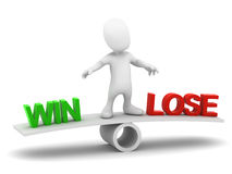 3d Little man balances win or lose vector illustration