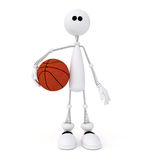 3d little man basketball player. Royalty Free Stock Photo