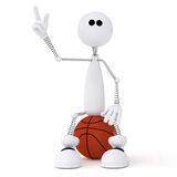3d little man basketball player. Royalty Free Stock Image