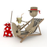 The 3D little man on a beach. Royalty Free Stock Image